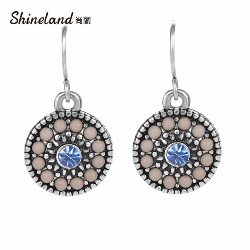 Shineland Cheap Wholesale Price Bohemian Round Resin Beads Drop Dangle Earrings Handmade Charm Small For Women Ethnic Jewelry