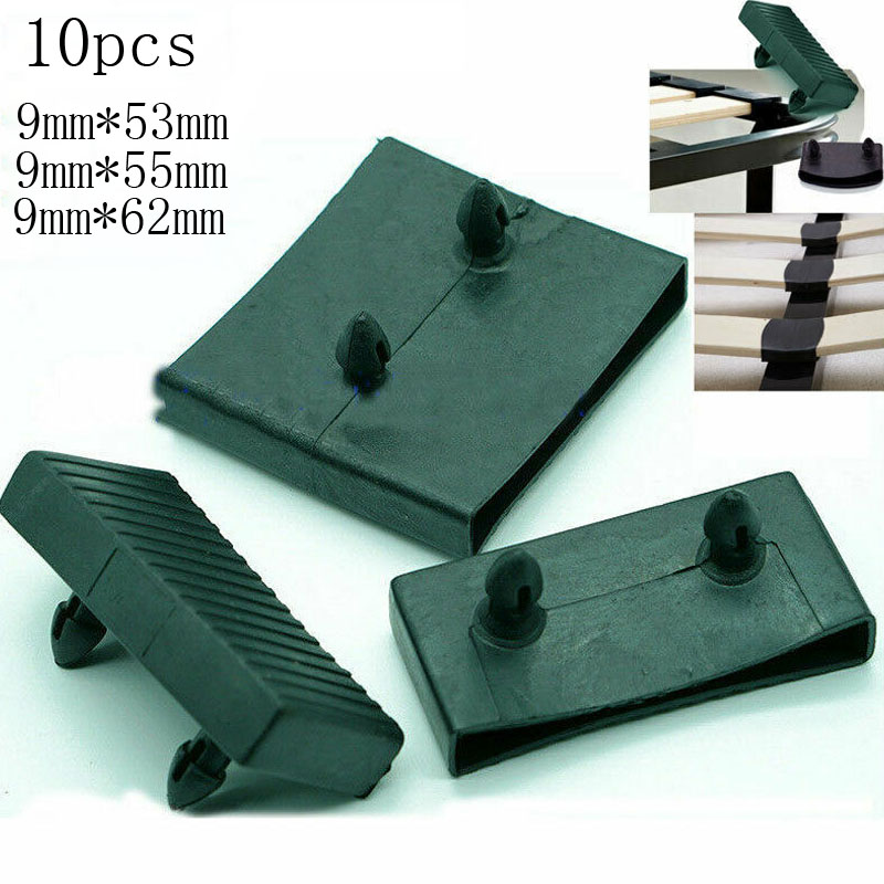 10PCS Black Plastic Square Replacement Sofa Bed Slat Centre End Caps Holders Inner Rubber Sleeve Size 9mmx53mm 9mmx55mm 9mmx62mm