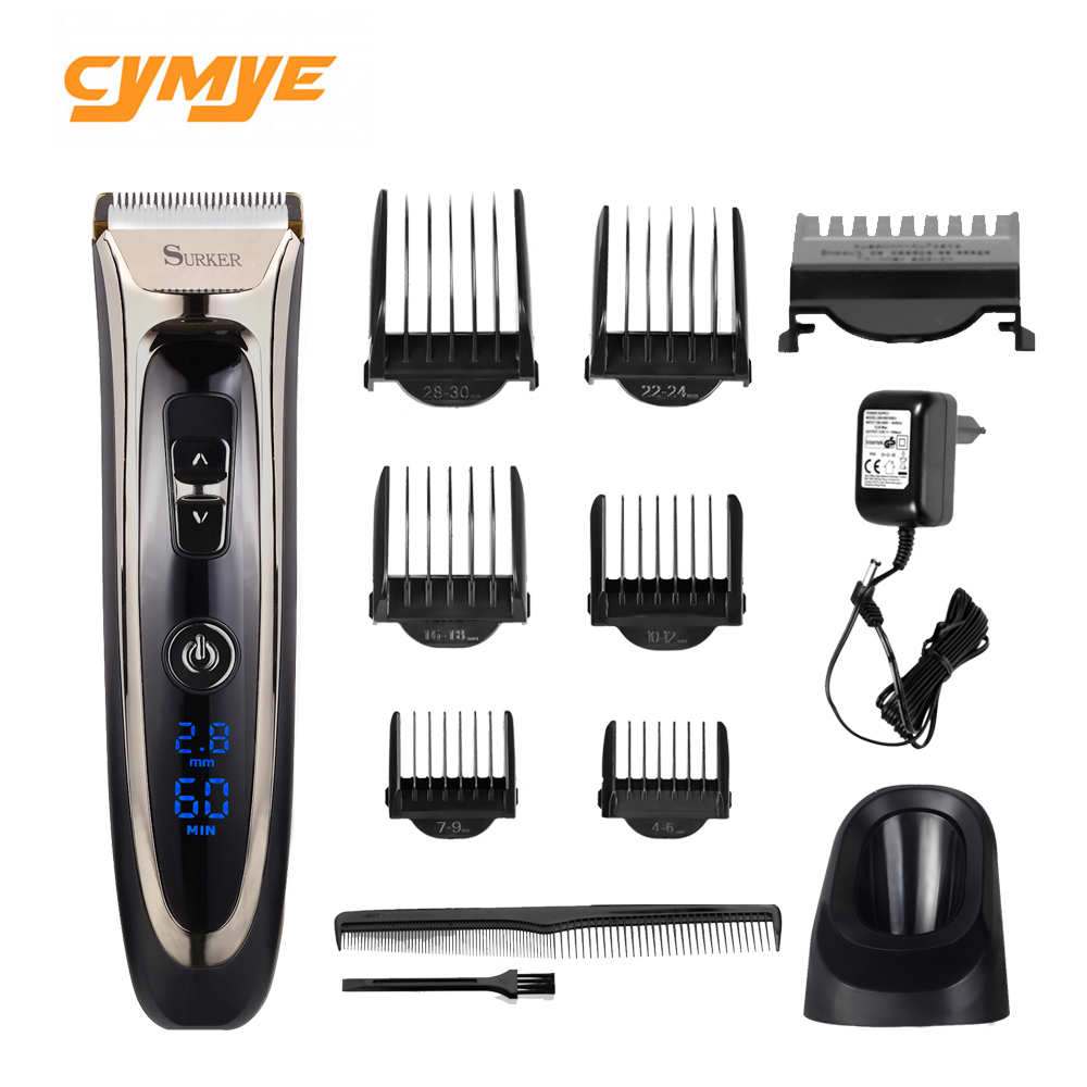 Cymye Professional Digital Hair Trimmer Cordless Haircut Adjustable Ceramic Blade
