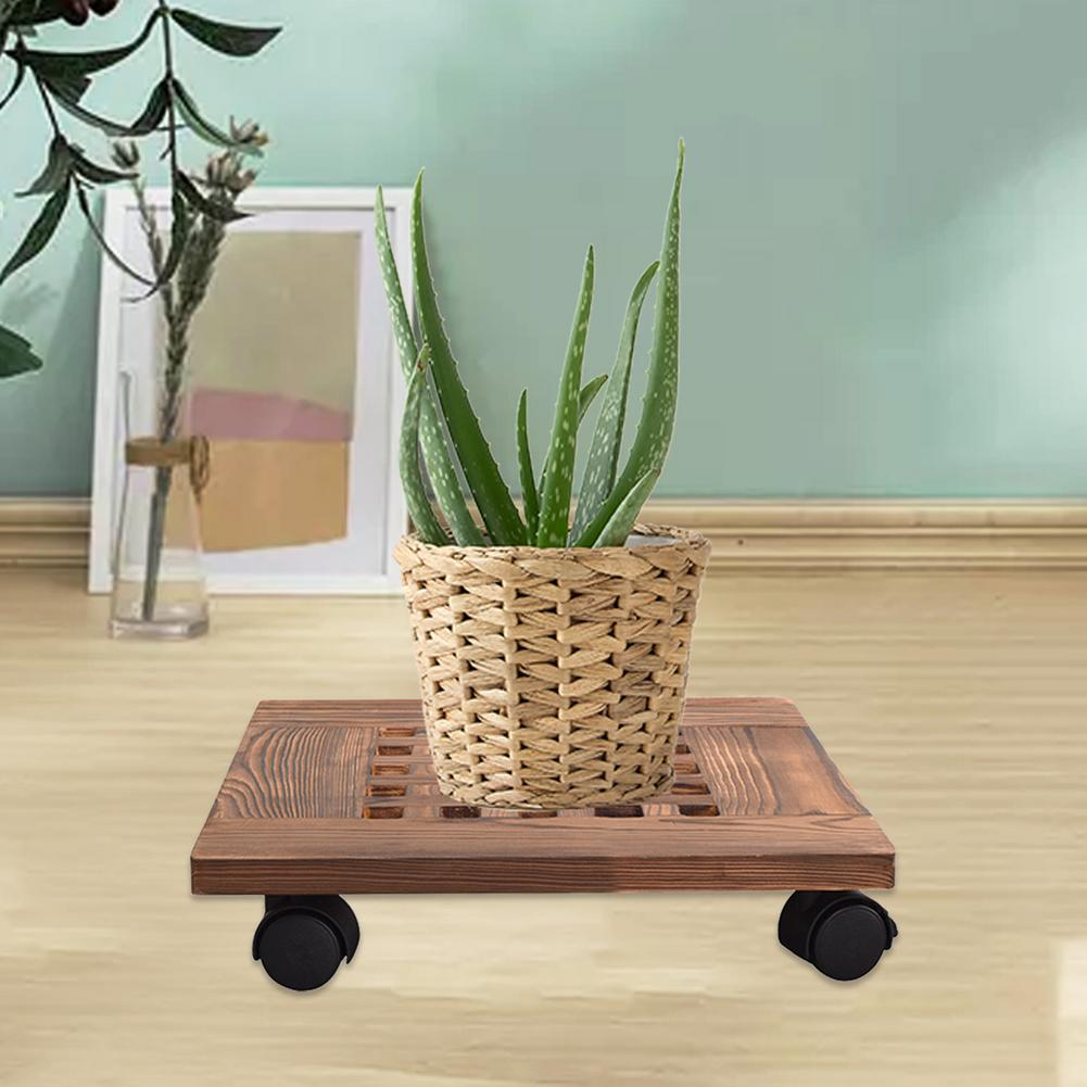 Square Flower Pot Stand With Wheels Moveable Wooden Flower Pot Tray Universal Wheel Design Anti-corrosion And Durable For Garden