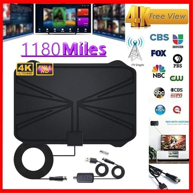 4K Digital HDTV Aerial Indoor Amplified  Antenna 1180 Miles Range HD1080P DVB T2 Freeview TV
