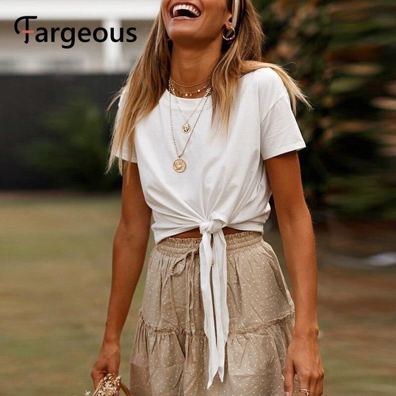 Fargeous High Fashion Solid White Women T-shirt Basic Summer Casual T-shirts Girls Chic Bow O-neck Shirt