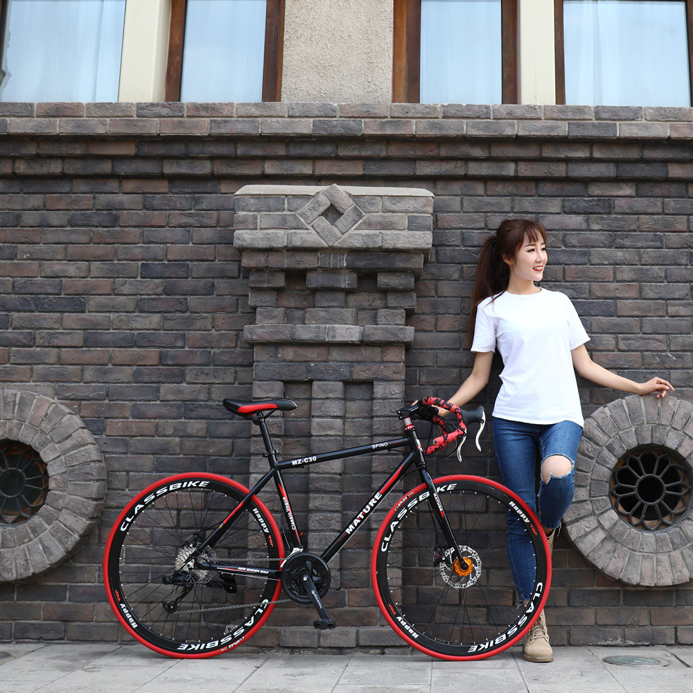 Racing-Car Bicycle Double-Disc-Brake Aluminum-Alloy Student 700c-Speed-Change 21/27/30/33-speeds title=