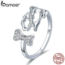 BAMOER 925 Sterling Silver Dog's Company Animal Dog & Bone Finger Rings for Women Adjustable Size Sterling Silver Jewelry SCR416(China)