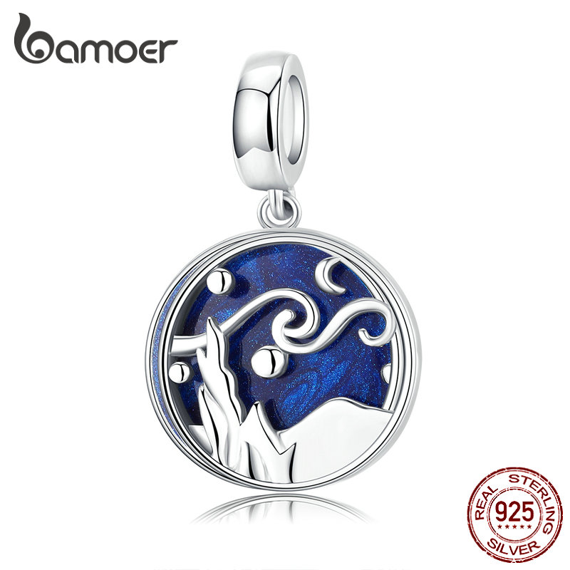 Bamoer 925 Sterling Silver Starry Sky Night Blue Enamel Pendant Charm Fit Women Original Bracelet And Necklace Jewelry SCC1389
