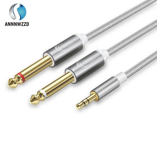 Cable de Audio 3,5mm a doble 6,35mm Cable auxiliar 2 mono 6,5 Jack a 3,5 macho para mezclador amplificador altavoz 6,5 Jack Splitter Cable