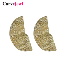 Carvejewl big stud earrings semicircle for women jewelry hammered surface girl gift simple personality new style