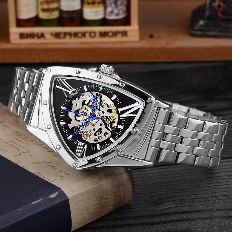H60ebc5bb86004afb924ec21137535f66H Men Watch Hollow Triangular Mechanical Watches Stainless Steel Men's Wristwatches Fashion Brand Men Clock Male Dropshipping!!!
