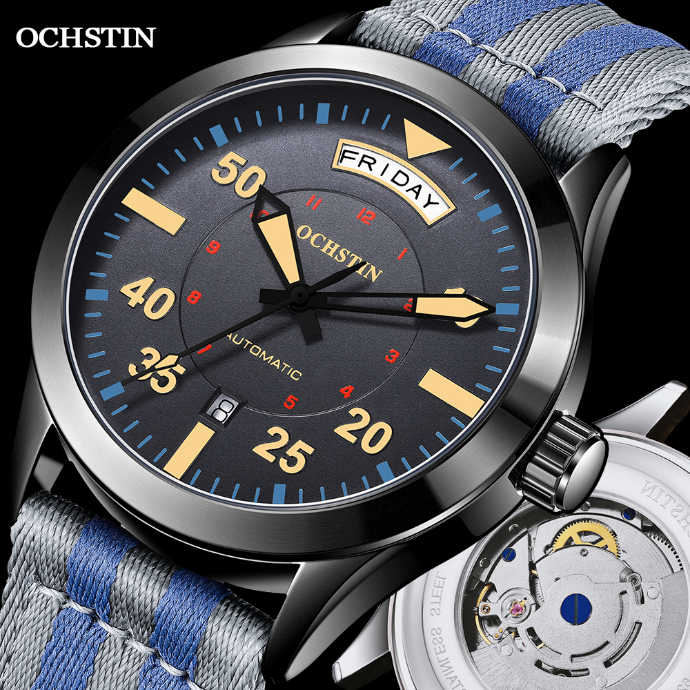 Modern Men\'s Watches 2020 Pilot Automatic Mechanical Wristwatch Military Luxury OCHSTIN Date Week Double Display Gifts For Male