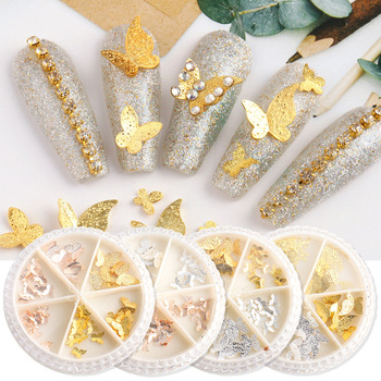 3D Butterfly Nail art Accessories Metal gold and silver frosted Butterfly Nail Sequins Nail art Decoration Manicure Accessories 1box gold silver mix metal butterfly 3d nail art decorations nail rivets shiny charm strass manicure accessories