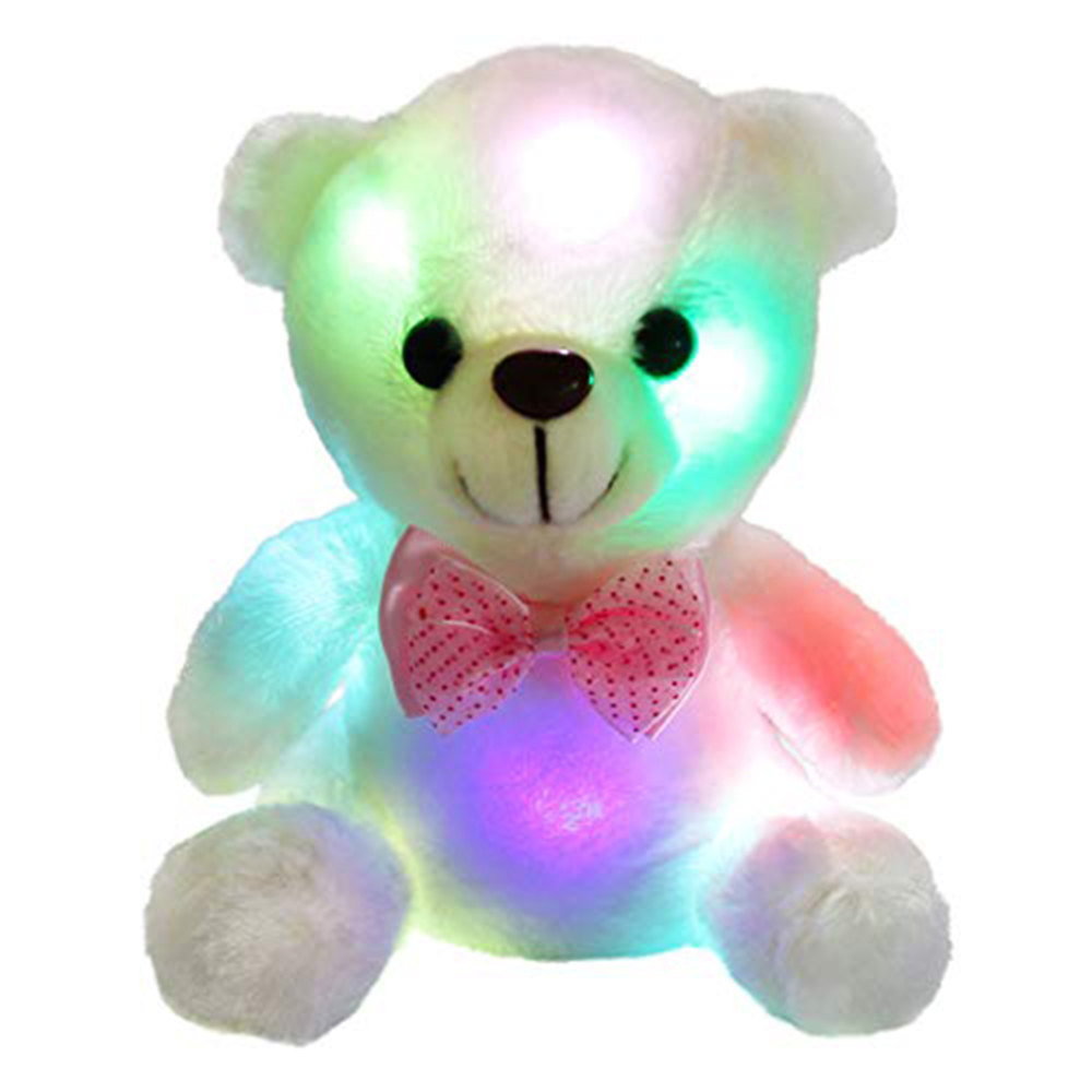 Colorful LED Glowing Small Bear Stuffed Doll Night Light Animals Plush Toys for girls Kids Gifts for the New Year Dropshipping image