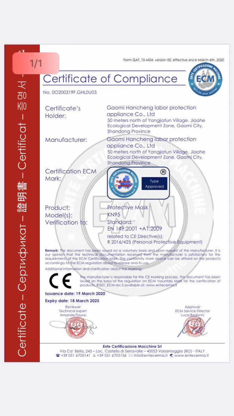 mascherina certificata n95
