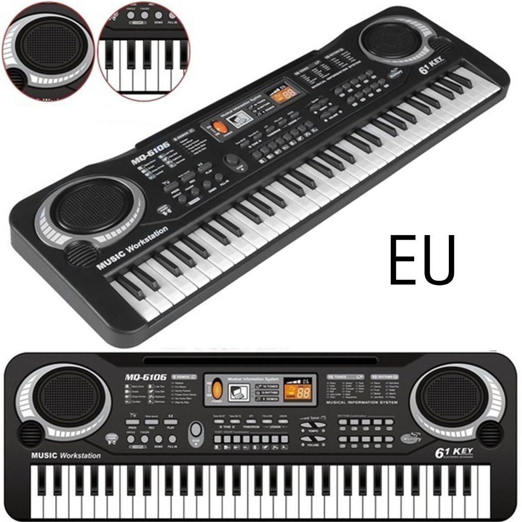 Baby Music Instruments Electronic Keyboard Piano Kids Learning Toys With Mic Delicate 61 Black And White Keys
