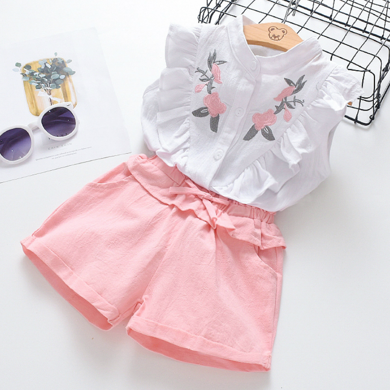 2 Pcs 2020 New Kids Baby Girls Summer Outfits Lace Tops Floral Shorts Skirt Clothes Sets Fashion Children Kid Girl Cute Clothing