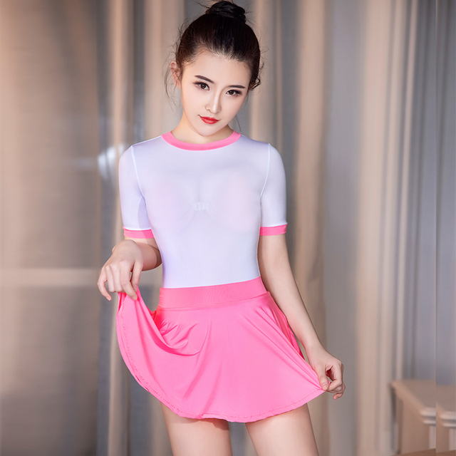 High Elastic Tight Cute Outfits For Women Schoolgirl Cheer Leading Roleplay Sexy Uniform See Through Bodysuit Skirt 2 Peice Sets 2