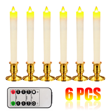 6pcs  LED Candle Flamelss Safe Candle Light Remote Control  Candles Wedding Party Night Decoration