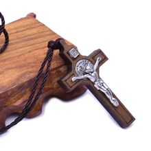 Jesus Cross Necklace Wood Metal Pendant Jewelry Men Womens Catholic Religious