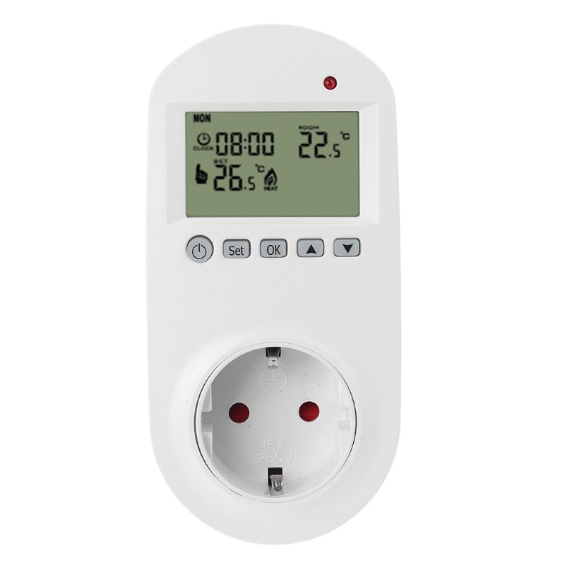 Programmable Plug In Thermostat EU Socket 16A Electric Heating Underfloor Room Temperature Controller 94PC