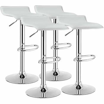 Set of 4 Swivel Bar Stool PU Leather Adjustable Kitchen Counter Chair 1