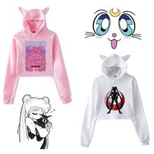 Sailor Moon bluza z kapturem Kawaii ubrania topy kobiety bluza z kapturem Harajuku Sailor Moon kot koszula koreański styl bluza Femme dziewczyny kobieta tanie tanio DAYUHU Mieszanka bawełny Swetry Japan style Suknem Cartoon REGULAR Pełna Krótki