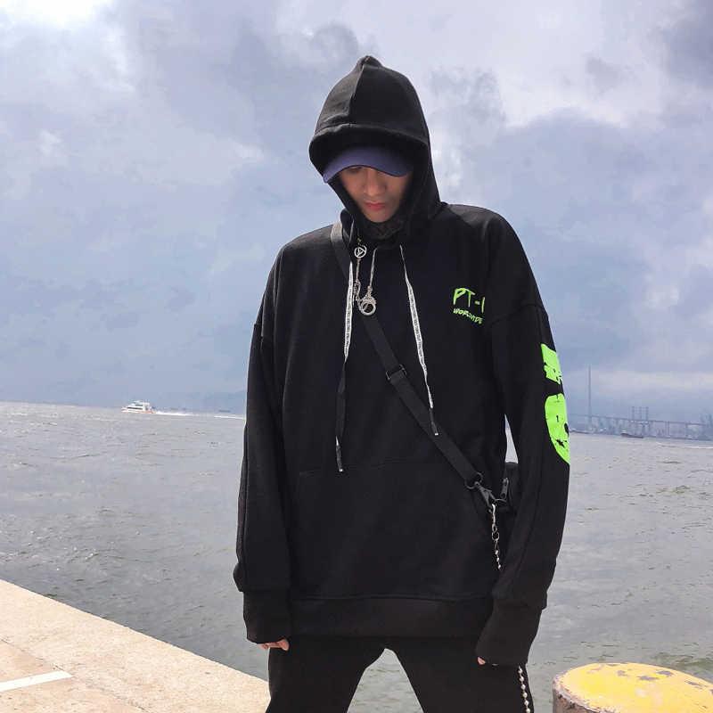 2019 Mannen Herfst Fluorescerende groene brief print zwart Hooides Sweatshirts Streetwear Oversized mannelijke katoen Ongedwongen Capuchon trui