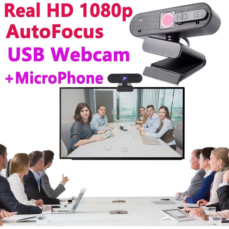 Webcam Full 1080 hd autofocus avec couvercle pour ordinateurs portables PC USB enregistrement micro Microphone 1080p écran large vidéo 30fps caméra en ligne