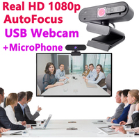 Webcam Full 1080 hd autofocus with Cover for laptops PC USB Recording Mic Microphone 1080p Widescreen Video Conferencing camera