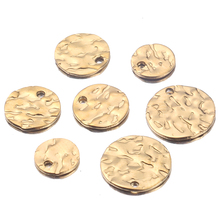 20pcs/lot Texture Charms 8mm 10mm 12mm Gold Plated Stainless Steel Tags Round Blank Coin Beads for DIY Necklace Bracelet Making