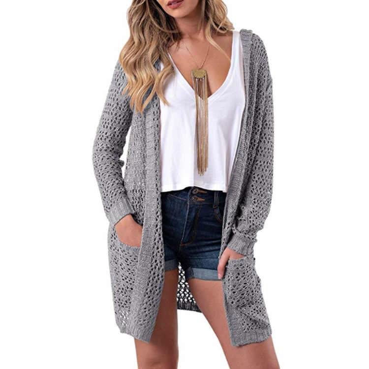 Nova camisola feminina cardigan 2019 com capuz cor sólida longo outono e inverno europa quente roupas femininas vestidos mmy76072