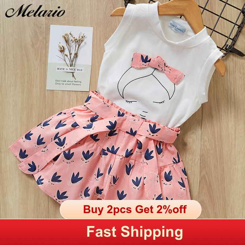 Melario Children Suit T-Shirt Shorts Print Baby-Girls Summer Sleeveless 2pcs Dot title=