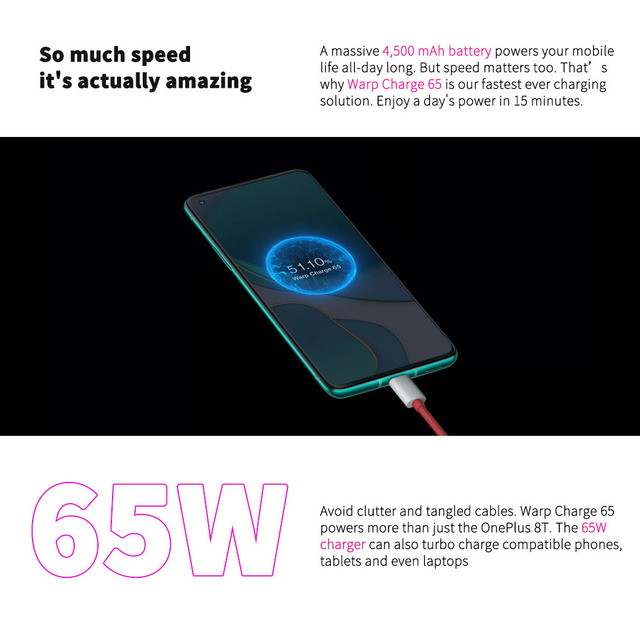 Global Rom OnePlus 8T 8 T OnePlus Official Store 8GB 128GB Snapdragon 865 5G Smartphone 120Hz AMOLED Fluid Screen 48MP Quad 65W 3