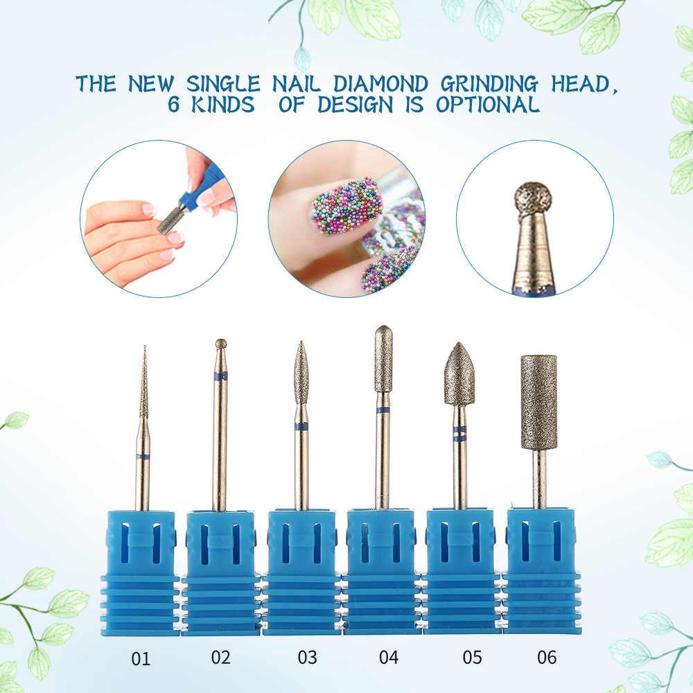 6 Jenis Blue Diamond Kikir Kuku Bor Bit Burr Milling Cutter Manikur Electric Kuku Bor Mesin Aksesoris Kuku