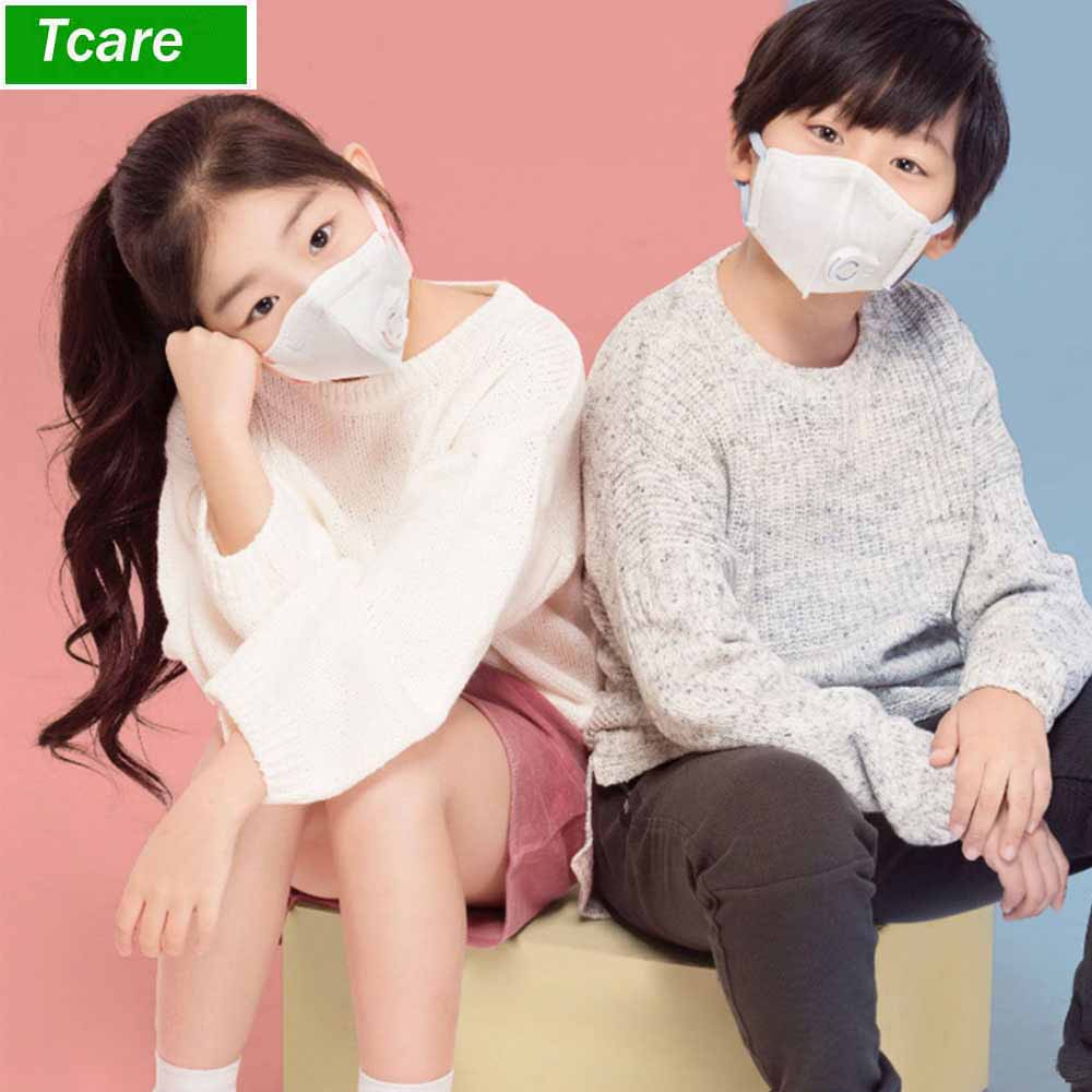 1Pcs Kids PM2.5 Anti Pollution Mask Outdoor Protection N95 Non-woven Fabric Dust Mouth Mask 4 Layer Breathing Valve Filter