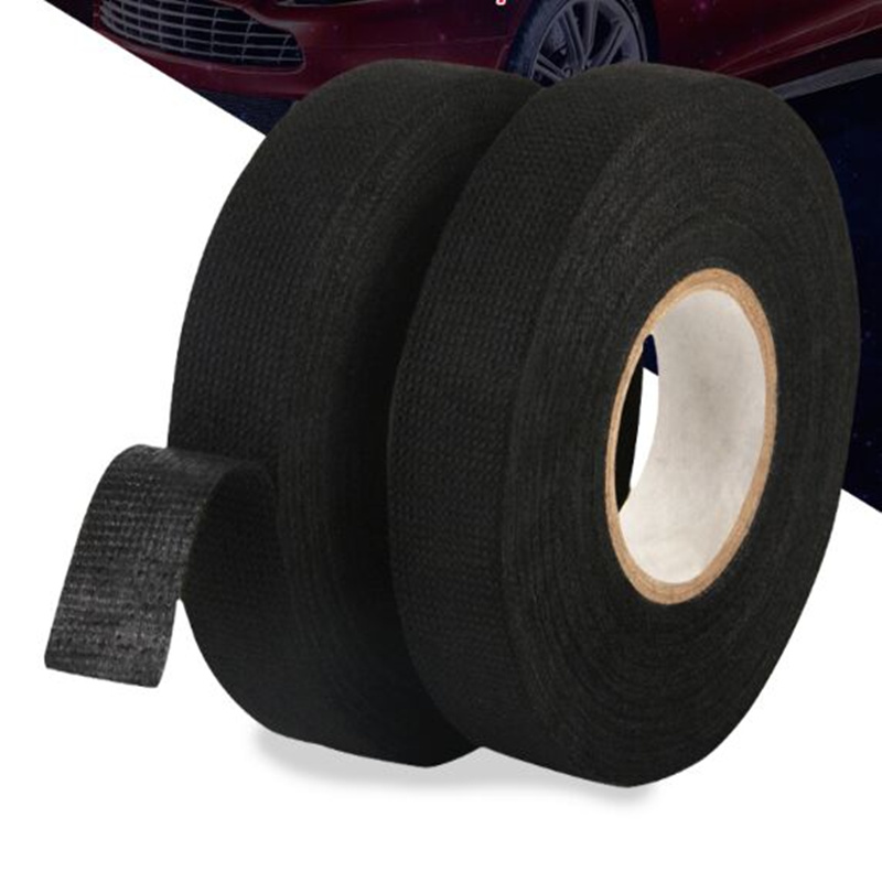 Car Sticker Heat-resistant Wiring Harness Tape Looms Wiring Harness Cloth Fabric Tape Adhesive Cable Protection 19mm X 15M