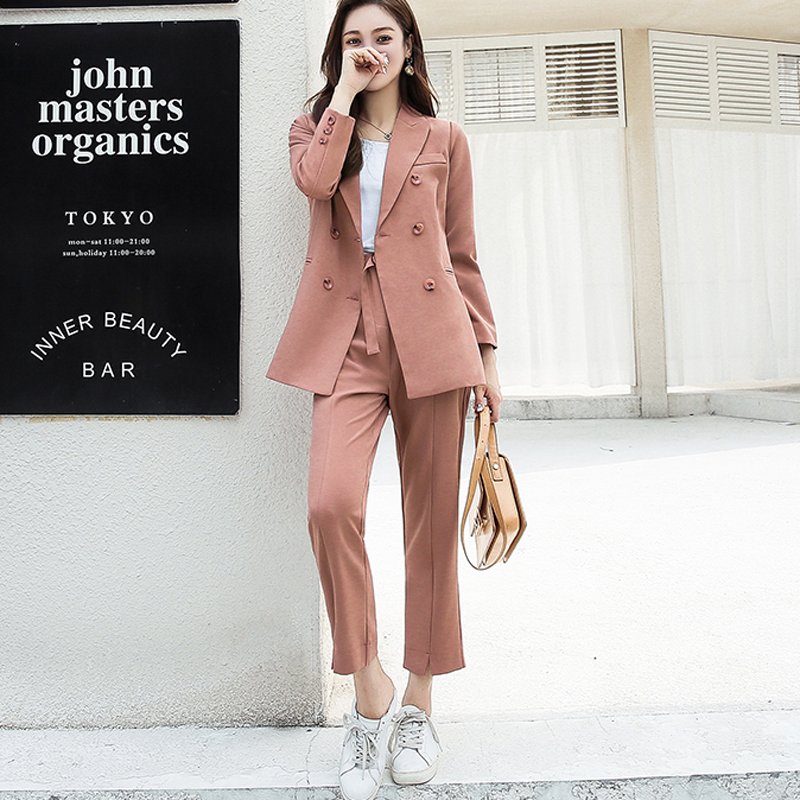 FMFSSOM Autumn Women Pant Suits Double Breasted Notched Collar Jacket Blazer & Sashes Pant Casual Female Work Suits High Quality