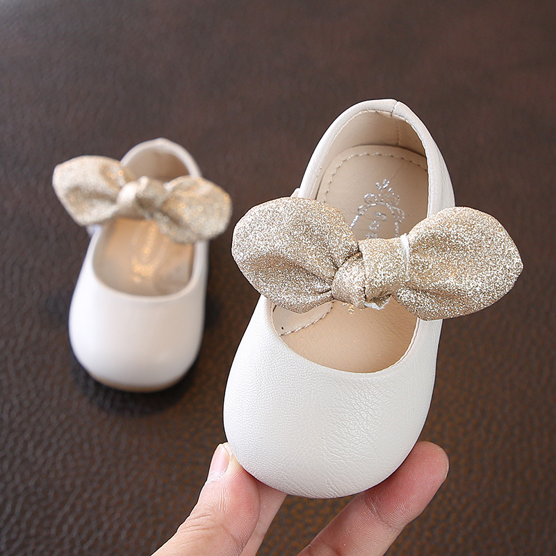Spring Bow Girls Princess Shoes 0-2 Years Old Baby Shoes Solid Color Soft Bottom Children's Leather Shoes