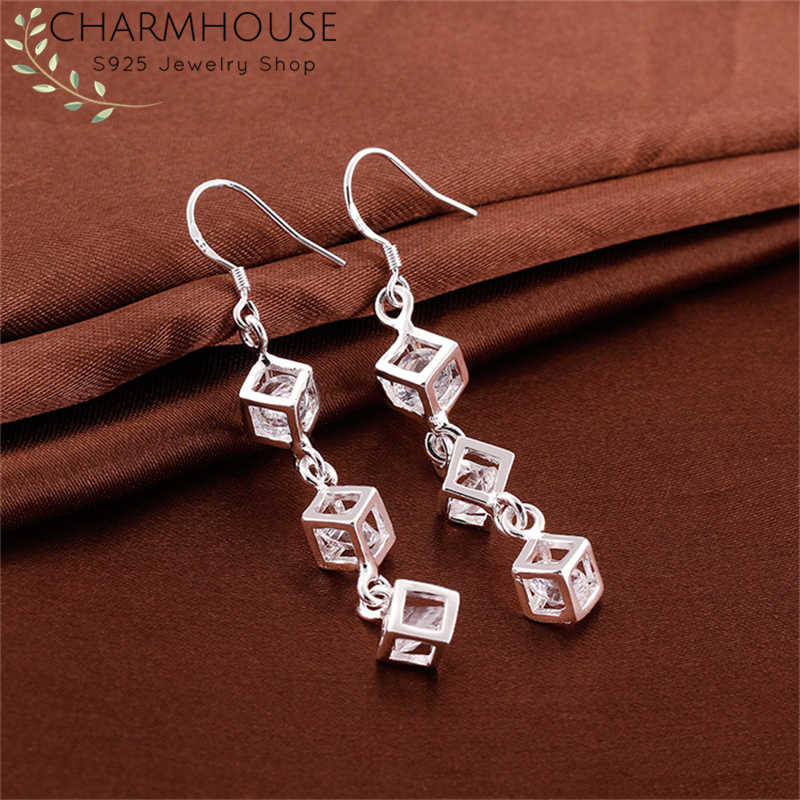Charmhouse 925 Silver Earrings for Women Cubic Zirconia Long Earing Brincos Femme Pendientes Fashion Jewelry Accessories Bijoux