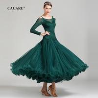 CACARE Lace Ballroom Dance Competition Dresses Tango Waltz Dress Flamenco Standard Dance Dresses D0670 Big Sheer Hem