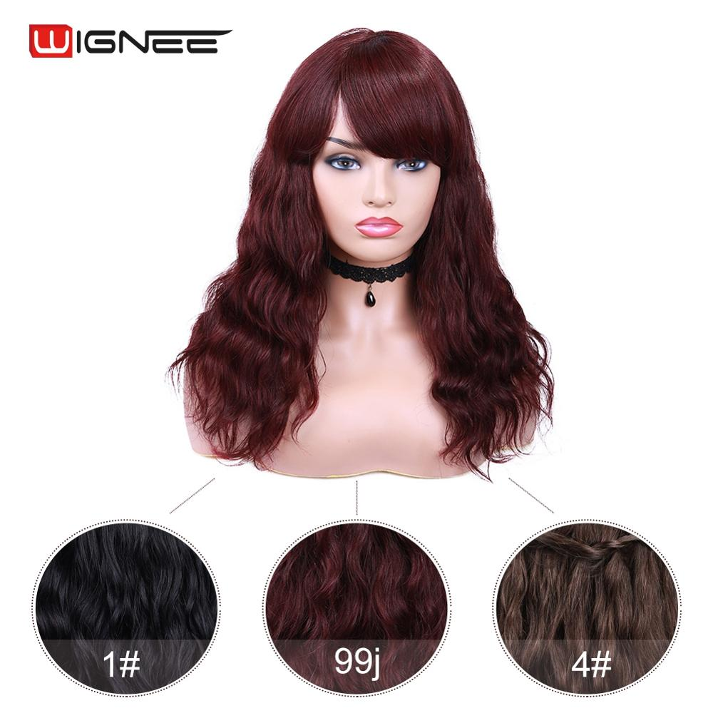 Wignee 99J/4# Human Hair Wig With Free Bangs For Black Women Remy Hair 150% Density Glueless Machine Made Natural Wave Human Wig