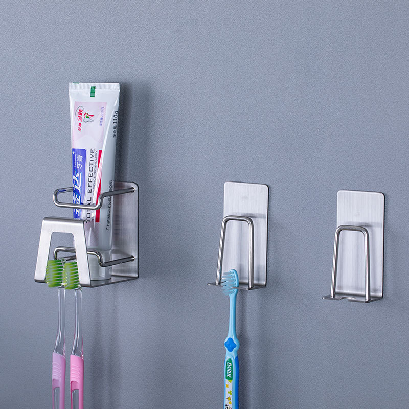 1pc Self Adhesive Stainless Steel Toothbrush Holder Wall Mounted Cup Holders