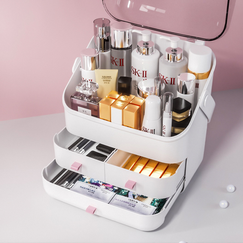 Box makeup Organizer for cosmetics Large capacity with lid Holder jewelry waterproof title=