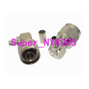 Image 1 - 10pcs Connector N male Plug crimp RG58 RG142 LMR195 RG400 cable right angle