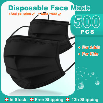 50/600 Thicken Black Masks Non Woven Disposable Face Mask Adult Hygiene Mouth Masks 3-layer Filter Ear Loop Mascarilla image