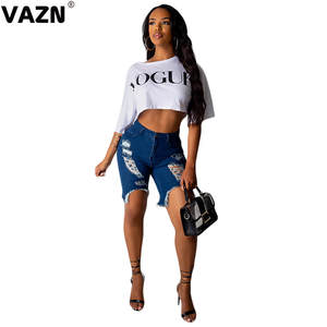 VAZN Mid-Jean-Shorts Mid-Waist-Button Summer Lady Chic GSN13622 Fly-Hole New-Product