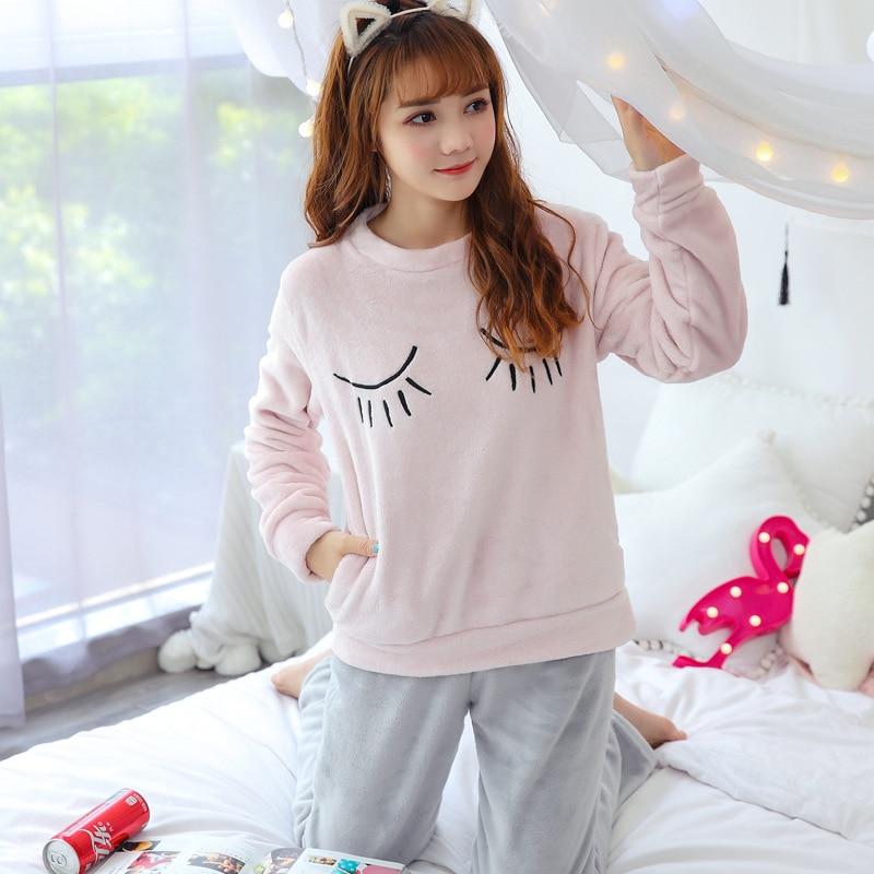 Women Pajama Sets Flannel Cartoon Warm Pyjamas Women Homewear Animal Sleepwear Pijama Mujer Nightwear Girls Home Clothes Suits 48