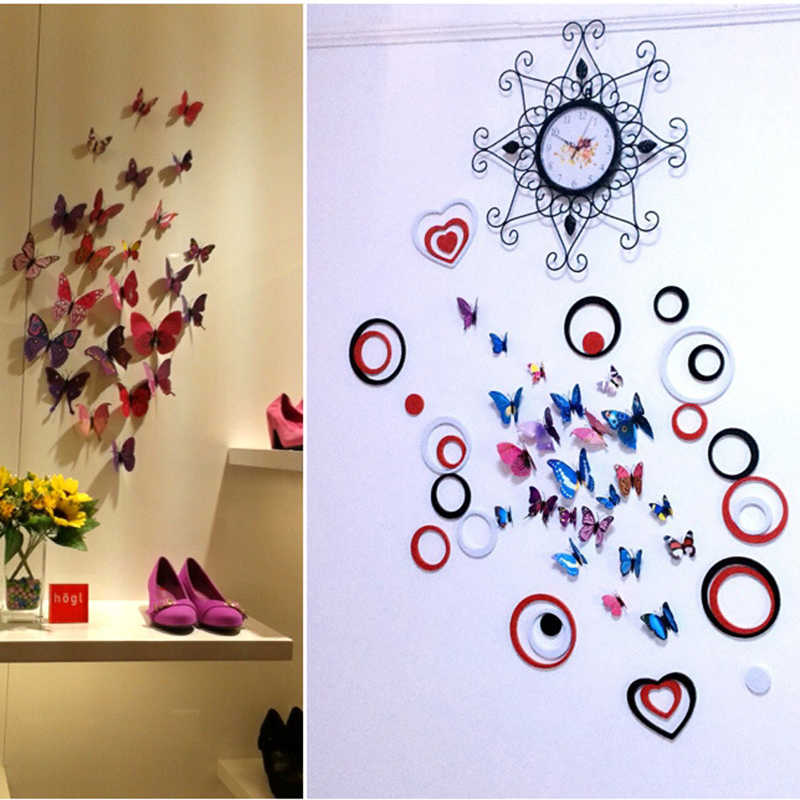 Freies verschiffen 12pcs PVC 3d Schmetterling wand decor nette Schmetterlinge wand aufkleber kunst Aufkleber dekoration zimmer wand kunst