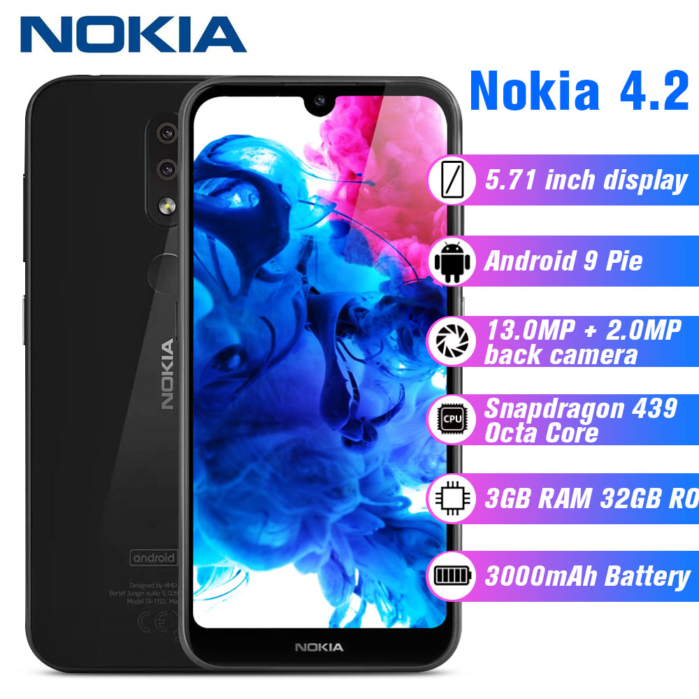 Nokia 4.2 4G Smartphone 5.71 Inch Android 9 Pie Snapdragon 439 Octa Core 3GB RAM 32GB ROM 13.0MP+2.0MP 3000mAh Mobile Cellphones