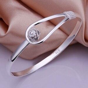 Silver color exquisite luxury gorgeous fashion wedding women lady bracelet bangle charm stamped nice birthday gift B179(China)