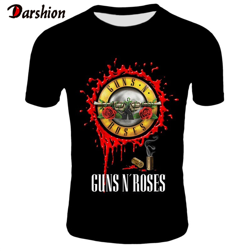 New Fashion Punk T Shirt Guns N Roses T-Shirt Men Black Tshirt Heavy Metal Tops 3D Gun Rose Print Dress Hip Hop Tees