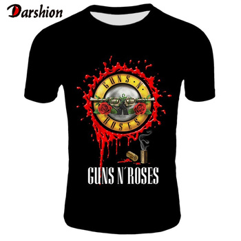 New Fashion Punk T Shirt Guns N Roses T-Shirt Men Black Tshirt Heavy Metal Tops 3D Gun Rose Print Dress Hip Hop Tees
